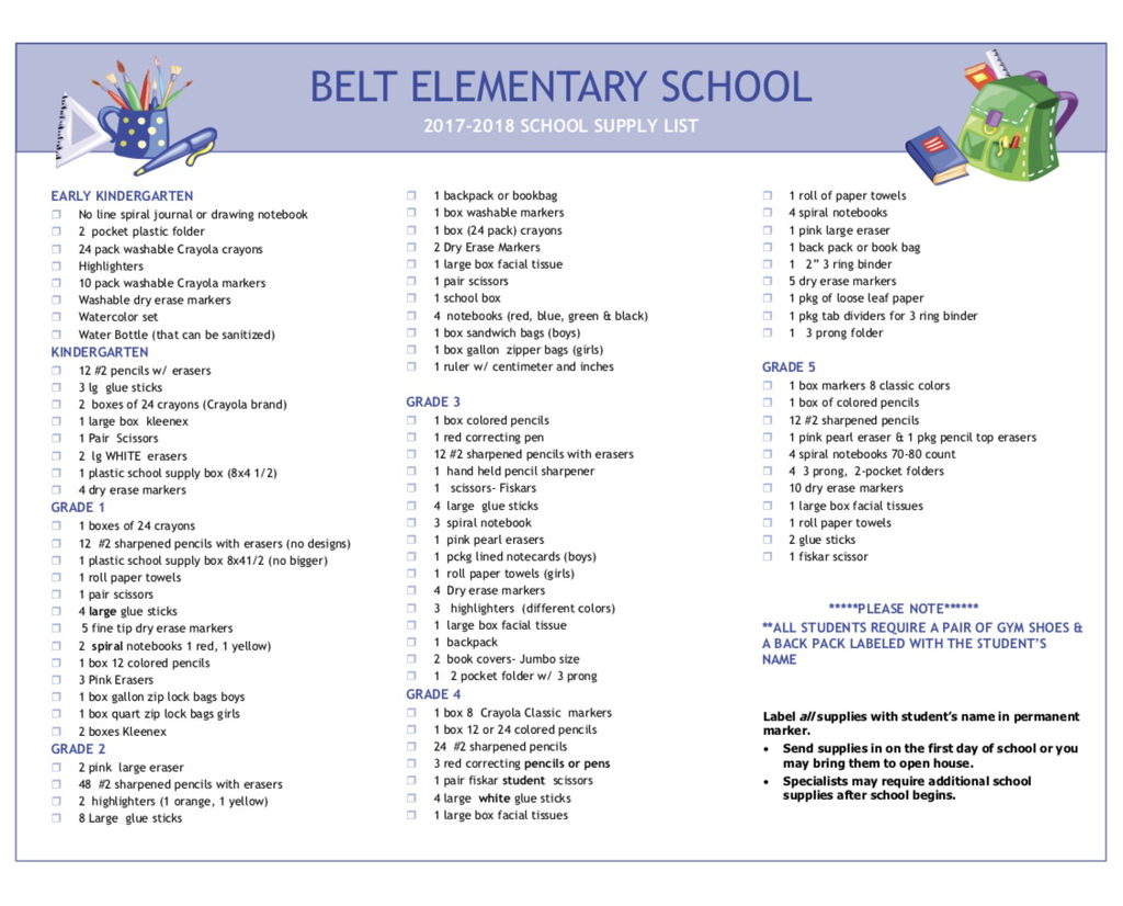 School Supply List from Student Handbook